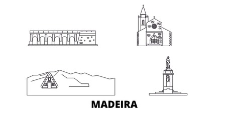 Portugal, Madeira line travel skyline set. Portugal, Madeira outline city vector panorama, illustration, travel sights, landmarks, streets. Stock Illustratie