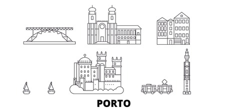 Portugal, Porto line travel skyline set. Portugal, Porto outline city vector panorama, illustration, travel sights, landmarks, streets.