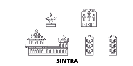 Portugal, Sintra line travel skyline set. Portugal, Sintra outline city vector panorama, illustration, travel sights, landmarks, streets. Stockfoto - 120649988