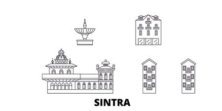 Portugal, Sintra line travel skyline set. Portugal, Sintra outline city vector panorama, illustration, travel sights, landmarks, streets.