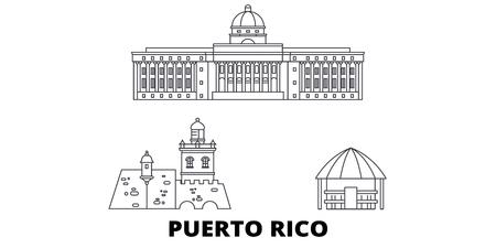 Puerto Rico line travel skyline set. Puerto Rico outline city vector panorama, illustration, travel sights, landmarks, streets.