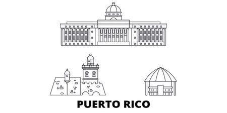 Puerto Rico line travel skyline set. Puerto Rico outline city vector panorama, illustration, travel sights, landmarks, streets.