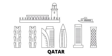 Katar, zestaw panoramę podróży linii Doha. Katar, Doha zarys panorama miasta wektor, ilustracja, zabytki podróży, zabytki, ulice.