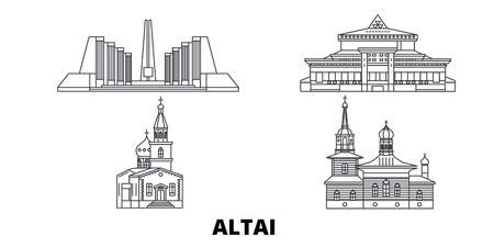 Russia, Gorno Altaysk line travel skyline set. Russia, Gorno Altaysk outline city vector panorama, illustration, travel sights, landmarks, streets.