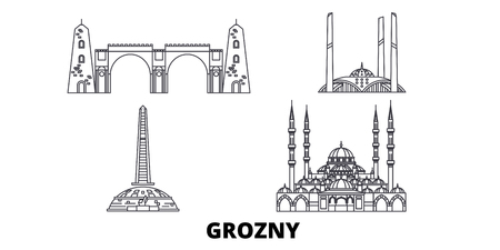 Russia, Grozny line travel skyline set. Russia, Grozny outline city vector panorama, illustration, travel sights, landmarks, streets.