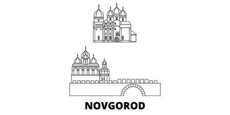 Russia, Novgorod line travel skyline set. Russia, Novgorod outline city vector panorama, illustration, travel sights, landmarks, streets.