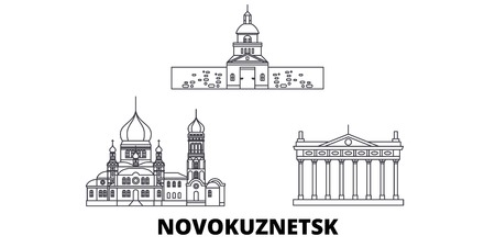 Russia, Novokuznetsk line travel skyline set. Russia, Novokuznetsk outline city vector panorama, illustration, travel sights, landmarks, streets. Standard-Bild - 120650014