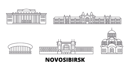 Russia, Novosibirsk line travel skyline set. Russia, Novosibirsk outline city vector panorama, illustration, travel sights, landmarks, streets.