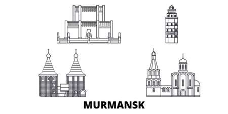 Russia, Murmansk line travel skyline set. Russia, Murmansk outline city vector panorama, illustration, travel sights, landmarks, streets.