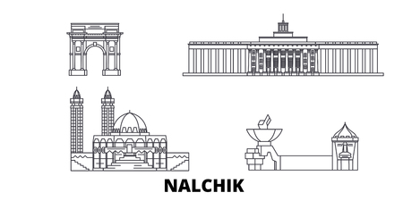 Russia, Nalchik line travel skyline set. Russia, Nalchik outline city vector panorama, illustration, travel sights, landmarks, streets. 向量圖像