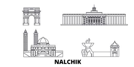 Russia, Nalchik line travel skyline set. Russia, Nalchik outline city vector panorama, illustration, travel sights, landmarks, streets. Illustration