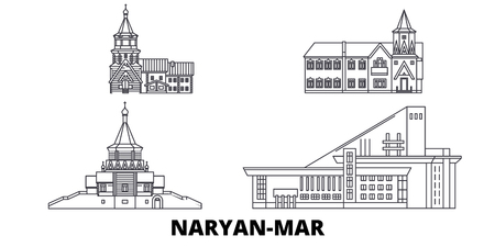Russia, Naryan Mar  line travel skyline set. Russia, Naryan Mar  outline city vector panorama, illustration, travel sights, landmarks, streets. Çizim