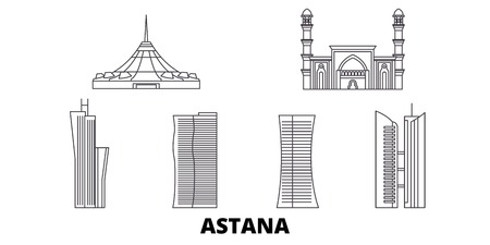 Kazakhstan, Astana line travel skyline set. Kazakhstan, Astana outline city vector panorama, illustration, travel sights, landmarks, streets.