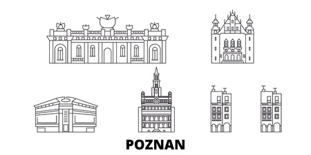 Poland, Poznan line travel skyline set. Poland, Poznan outline city vector panorama, illustration, travel sights, landmarks, streets.