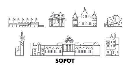 Poland, Sopot line travel skyline set. Poland, Sopot outline city vector panorama, illustration, travel sights, landmarks, streets.
