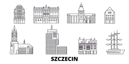 Poland, Szczecin line travel skyline set. Poland, Szczecin outline city vector panorama, illustration, travel sights, landmarks, streets. Ilustrace