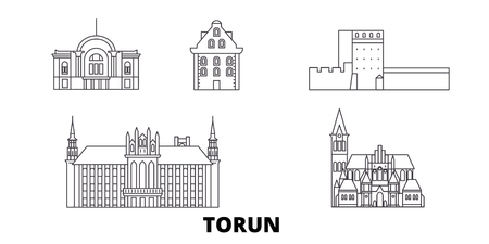 Poland, Torun line travel skyline set. Poland, Torun outline city vector panorama, illustration, travel sights, landmarks, streets.
