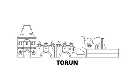 Poland, Torun City line travel skyline set. Poland, Torun City outline city vector panorama, illustration, travel sights, landmarks, streets.  イラスト・ベクター素材