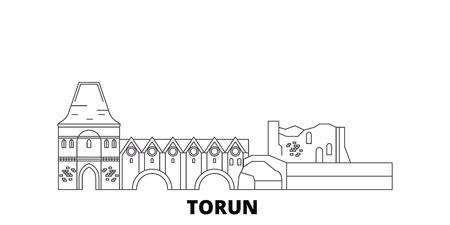 Poland, Torun City line travel skyline set. Poland, Torun City outline city vector panorama, illustration, travel sights, landmarks, streets. Illustration