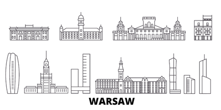 Poland, Warsaw line travel skyline set. Poland, Warsaw outline city vector panorama, illustration, travel sights, landmarks, streets. Illusztráció