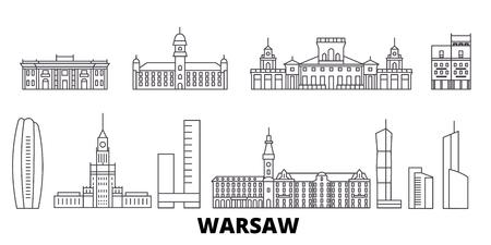 Polen, Warschauer Linie Reise-Skyline-Set. Polen, Warschau umreißen Stadtvektorpanorama, Illustration, Reisesehenswürdigkeiten, Sehenswürdigkeiten, Straßen.