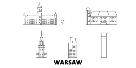 Poland, Warsaw City line travel skyline set. Poland, Warsaw City outline city vector panorama, illustration, travel sights, landmarks, streets.