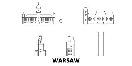 Poland, Warsaw City line travel skyline set. Poland, Warsaw City outline city vector panorama, illustration, travel sights, landmarks, streets.