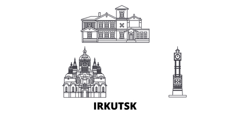 Russia, Irkutsk line travel skyline set. Russia, Irkutsk outline city vector panorama, illustration, travel sights, landmarks, streets.