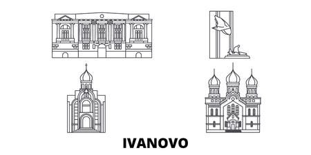 Russia, Ivanovo line travel skyline set. Russia, Ivanovo outline city vector panorama, illustration, travel sights, landmarks, streets.
