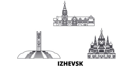 Russia, Izhevsk line travel skyline set. Russia, Izhevsk outline city vector panorama, illustration, travel sights, landmarks, streets.