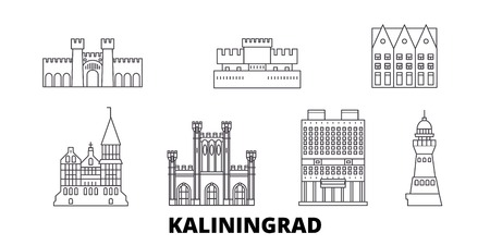 Russia, Kaliningrad line travel skyline set. Russia, Kaliningrad outline city vector panorama, illustration, travel sights, landmarks, streets.