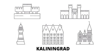 Russia, Kaliningrad City line travel skyline set. Russia, Kaliningrad City outline city vector panorama, illustration, travel sights, landmarks, streets.