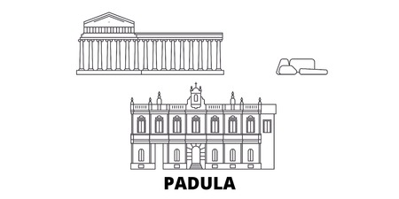 Italy, Padula  line travel skyline set. Italy, Padula  outline city vector panorama, illustration, travel sights, landmarks, streets.