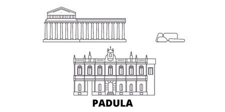 Italy, Padula  line travel skyline set. Italy, Padula  outline city vector panorama, illustration, travel sights, landmarks, streets.