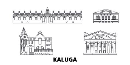 Russia, Kaluga line travel skyline set. Russia, Kaluga outline city vector panorama, illustration, travel sights, landmarks, streets. Illustration