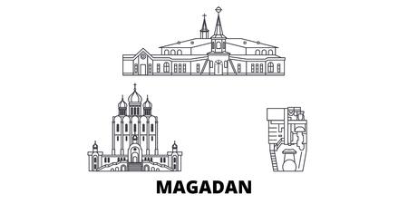 Russia, Magadan line travel skyline set. Russia, Magadan outline city vector panorama, illustration, travel sights, landmarks, streets.