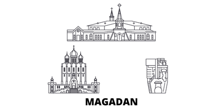 Russia, Magadan line travel skyline set. Russia, Magadan outline city vector panorama, illustration, travel sights, landmarks, streets.