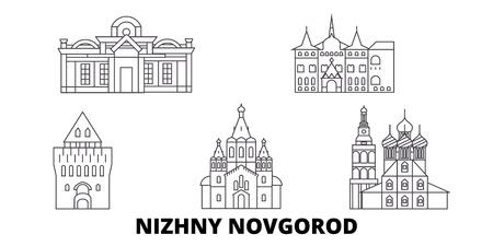 Russland, Nischni Nowgorod Linie Reisen Skyline Set. Russland, Nischni Nowgorod skizzieren Stadtvektorpanorama, Illustration, Reiseanblicke, Sehenswürdigkeiten, Straßen. Vektorgrafik