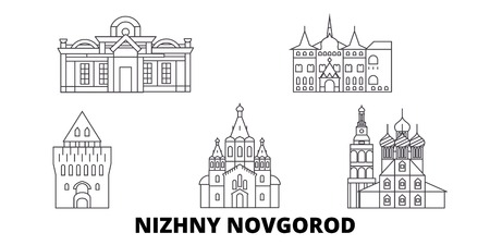 Russia, Nizhny Novgorod line travel skyline set. Russia, Nizhny Novgorod outline city vector panorama, illustration, travel sights, landmarks, streets.