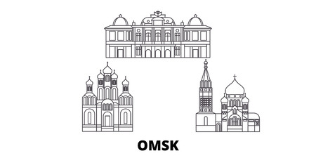 Russia, Omsk line travel skyline set. Russia, Omsk outline city vector panorama, illustration, travel sights, landmarks, streets.