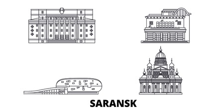 Russia, Saransk line travel skyline set. Russia, Saransk outline city vector panorama, illustration, travel sights, landmarks, streets.