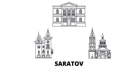 Russia, Saratov line travel skyline set. Russia, Saratov outline city vector panorama, illustration, travel sights, landmarks, streets.