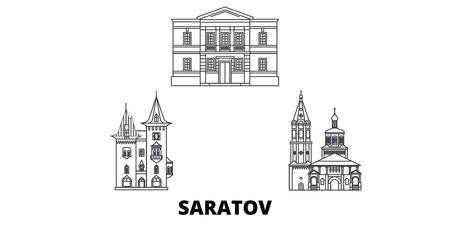 Russia, Saratov line travel skyline set. Russia, Saratov outline city vector panorama, illustration, travel sights, landmarks, streets.