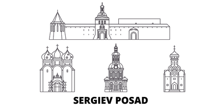 Russia, Sergiev Posad line travel skyline set. Russia, Sergiev Posad outline city vector panorama, illustration, travel sights, landmarks, streets. Illustration