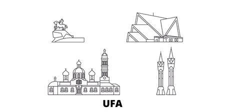 Russia, Ufa line travel skyline set. Russia, Ufa outline city vector panorama, illustration, travel sights, landmarks, streets. 일러스트