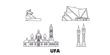 Russia, Ufa line travel skyline set. Russia, Ufa outline city vector panorama, illustration, travel sights, landmarks, streets. Illustration