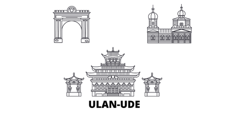 Russia, Ulan Ude line travel skyline set. Russia, Ulan Ude outline city vector panorama, illustration, travel sights, landmarks, streets.