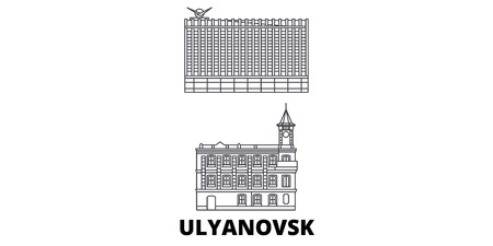Russia, Ulyanovsk line travel skyline set. Russia, Ulyanovsk outline city vector panorama, illustration, travel sights, landmarks, streets.