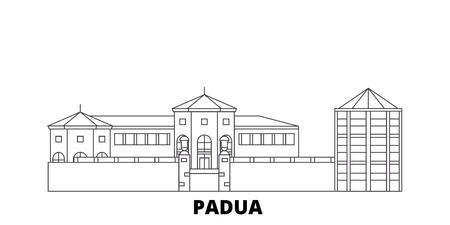 Italy, Padua City line travel skyline set. Italy, Padua City outline city vector panorama, illustration, travel sights, landmarks, streets.