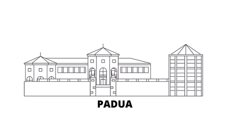 Italy, Padua City line travel skyline set. Italy, Padua City outline city vector panorama, illustration, travel sights, landmarks, streets.